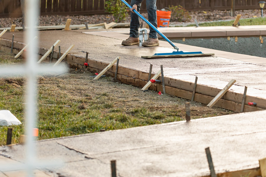 Repairing the stamped concrete by our expert